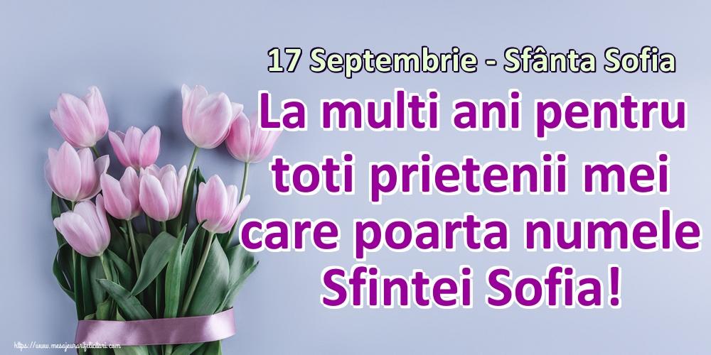 Felicitari de Sfânta Sofia - 17 Septembrie - Sfânta Sofia La multi ani pentru toti prietenii mei care poarta numele Sfintei Sofia!