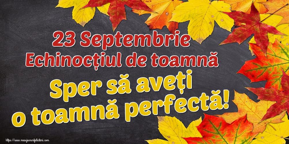 Felicitari de Toamnă - 23 Septembrie Echinocțiul de toamnă Sper să aveți o toamnă perfectă!