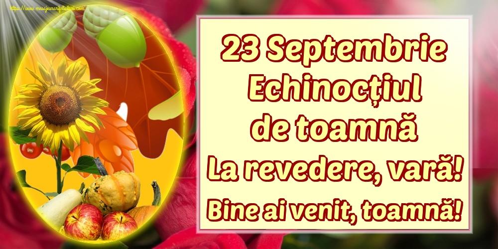 Felicitari de Toamnă - 23 Septembrie Echinocțiul de toamnă La revedere, vară! Bine ai venit, toamnă!
