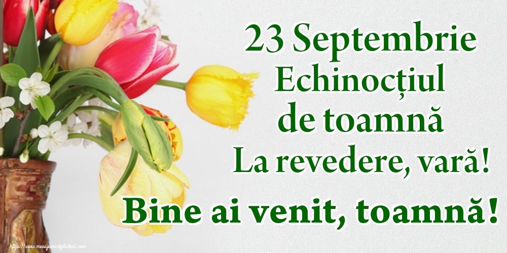 Toamnă 23 Septembrie Echinocțiul de toamnă La revedere, vară! Bine ai venit, toamnă!