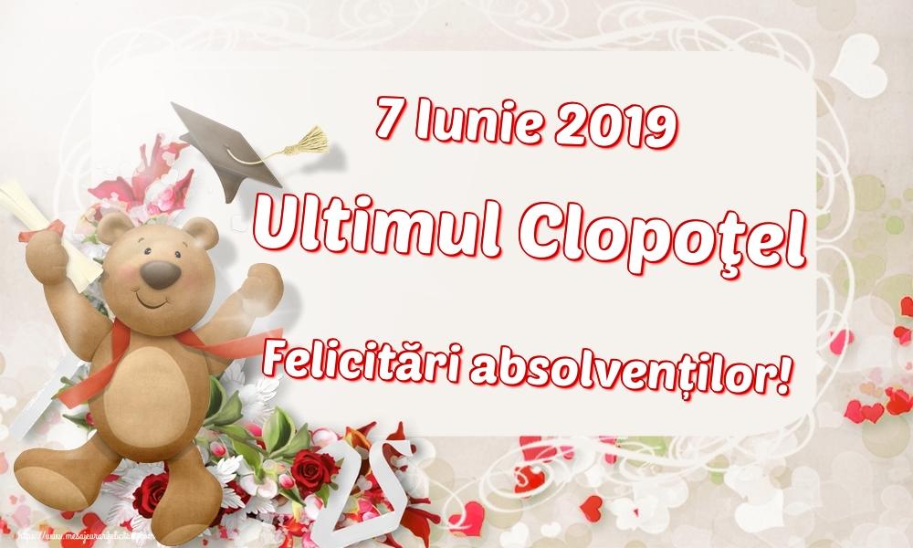 Felicitari de Ultimul clopoţel clasa a VIII-a - 7 Iunie 2019 Ultimul Clopoţel Felicitări absolvenților!