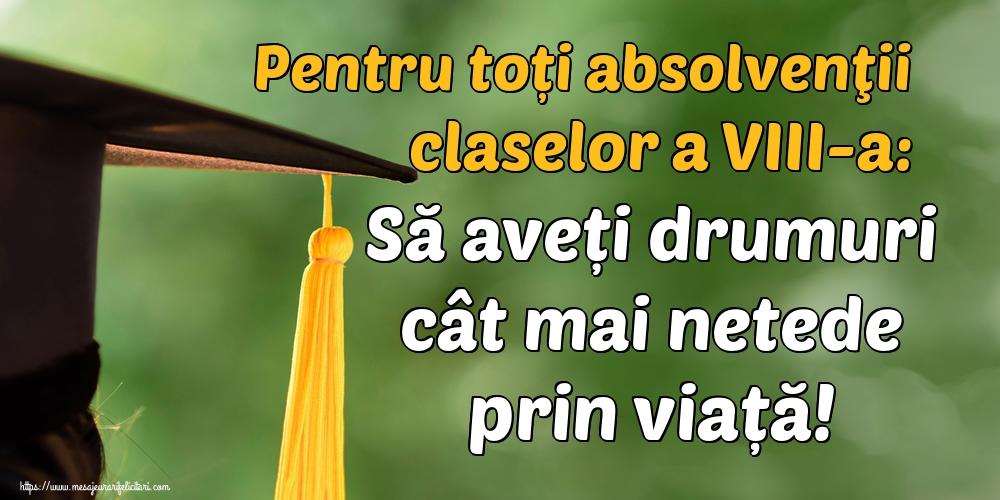 Felicitari de Ultimul clopoţel clasa a VIII-a - Pentru toți absolvenţii claselor a VIII-a: Să aveți drumuri cât mai netede prin viață!