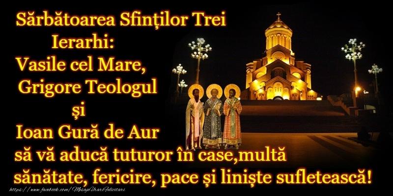 Cele mai apreciate felicitari de Sfintii Vasile, Grigore si Ioan - La multi ani de Sfintii Vasile, Grigore si Ioan!