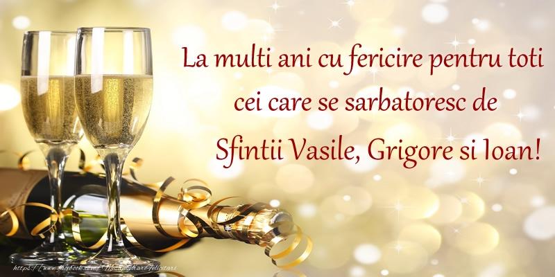 La multi ani cu fericire pentru toti cei care se sarbatoresc de Sfintii Vasile, Grigore si Ioan!
