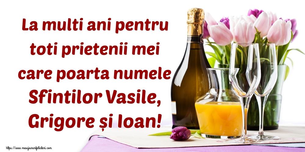 Felicitari de Sfintii Vasile, Grigore si Ioan - La multi ani pentru toti prietenii mei care poarta numele Sfintilor Vasile, Grigore și Ioan!