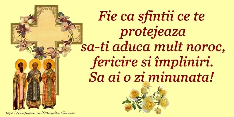 Felicitari de Sfintii Vasile, Grigore si Ioan - Fie ca sfintii care te protejeaza sa-ti aduca mult noroc, fericire si impliniri. Sa ai o zi minunata! - mesajeurarifelicitari.com