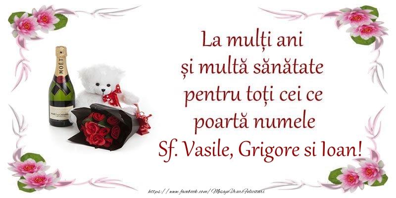 Sfintii Vasile, Grigore si Ioan La multi ani si multa sanatate pentru toti ce poarta numele Sf. Vasile, Grigore si Ioan!