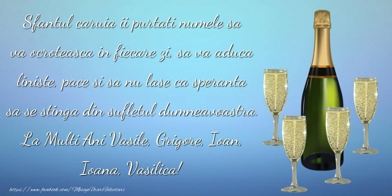 La Multi Ani Vasile, Grigore, Ioan, Ioana, Vasilica!
