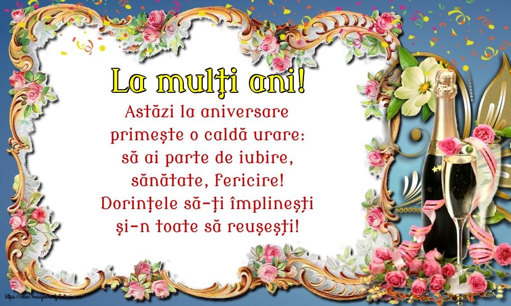Felicitari de zi de nastere - La mulţi ani! - mesajeurarifelicitari.com