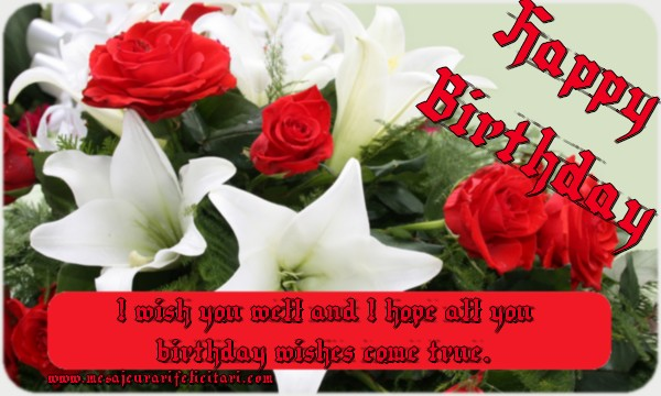 Felicitari de zi de nastere in Engleza - I wish you well and I hope all you birthday wishes come true!