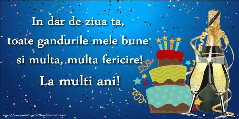 Felicitari de zi de nastere - Felicitare cu tort si sampanie