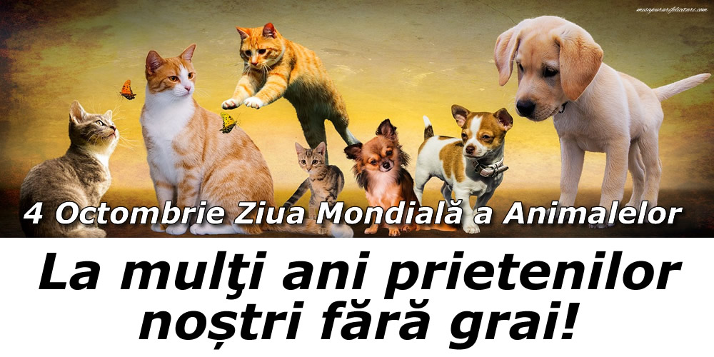 Felicitari de Ziua Animalelor - La mulţi ani prietenilor noștri făra grai! - mesajeurarifelicitari.com
