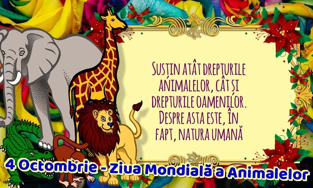 Felicitari de Ziua Animalelor - 4 Octombrie - Ziua Mondială a Animalelor - mesajeurarifelicitari.com