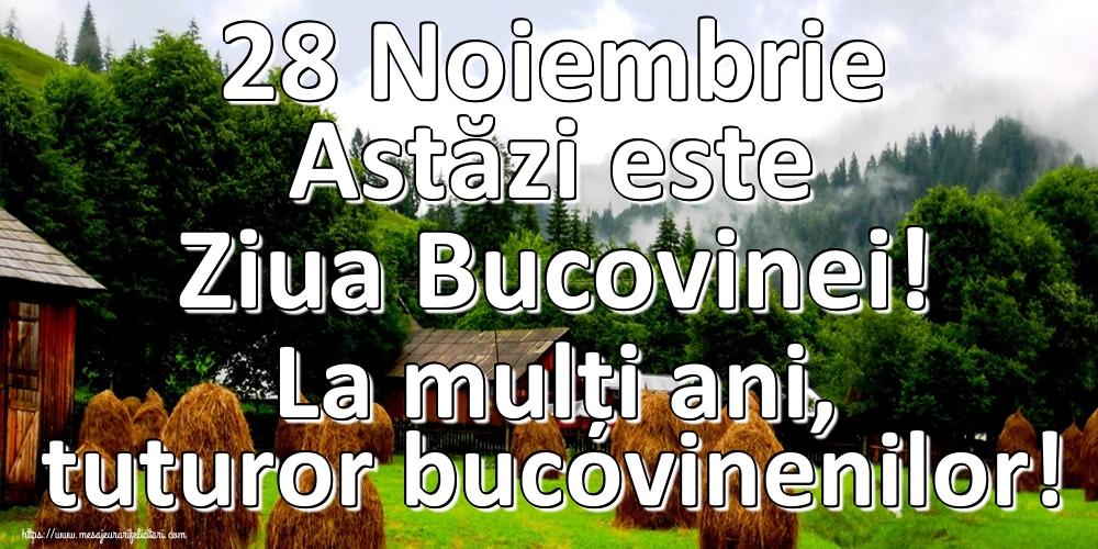 Felicitari de Ziua Bucovinei - 28 Noiembrie Astăzi este Ziua Bucovinei! La mulți ani, tuturor bucovinenilor!