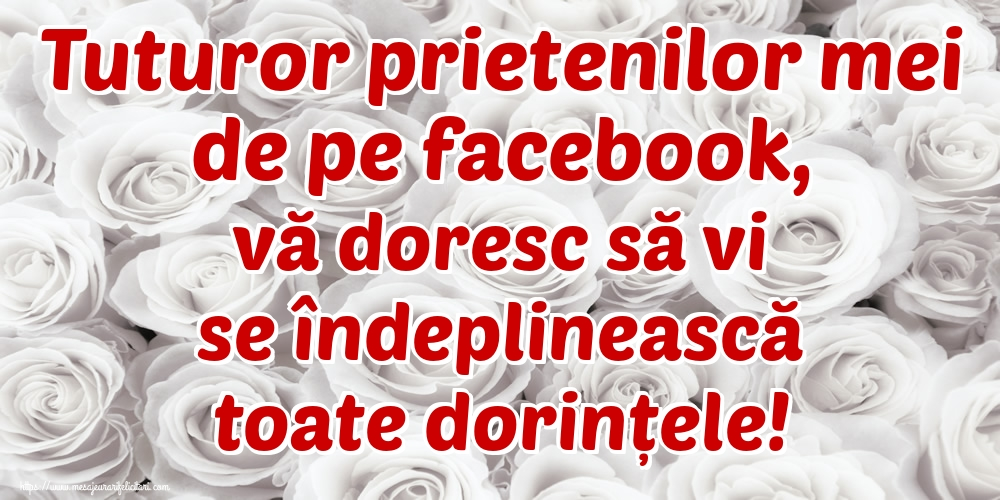 Ziua Dorinţei Tuturor prietenilor mei de pe facebook, vă doresc să vi se îndeplinească toate dorințele!
