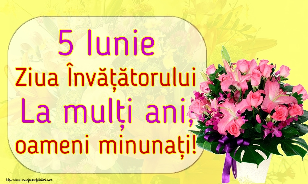 Ziua Învățătorului 5 Iunie Ziua Învățătorului La mulți ani, oameni minunați!