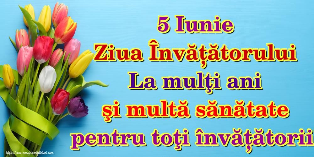 Felicitari de Ziua Învățătorului - 5 Iunie Ziua Învățătorului La mulţi ani şi multă sănătate pentru toţi învățătorii!