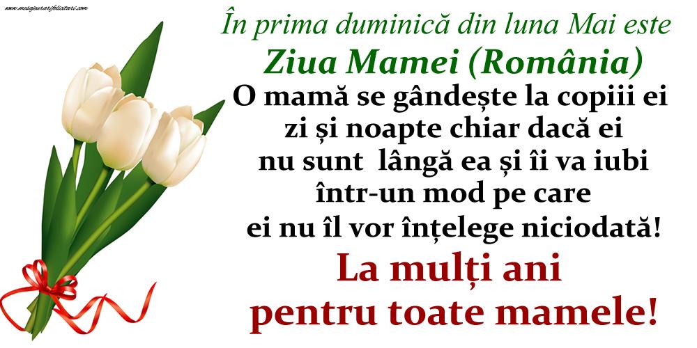 Felicitari de Ziua Mamei - În prima duminică din luna Mai este Ziua Mamei (România) - La mulți ani pentru toate mamele!
