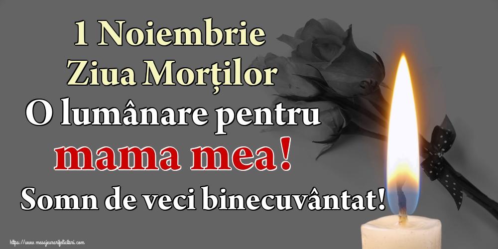 Imagini de Ziua Morţilor - 1 Noiembrie Ziua Morților O lumânare pentru mama mea! Somn de veci binecuvântat!