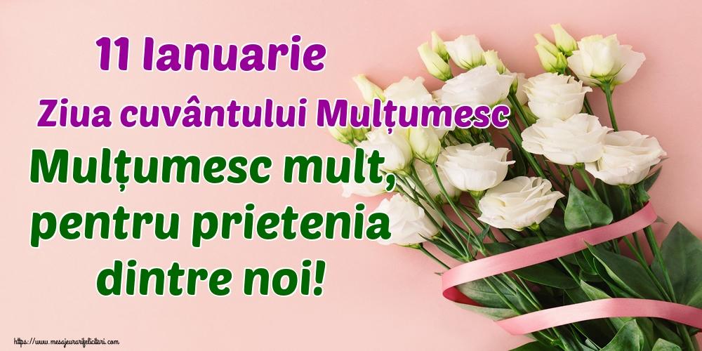 Felicitari de Ziua Internațională a cuvântului Mulțumesc - 11 Ianuarie Ziua cuvântului Mulțumesc Mulțumesc mult, pentru prietenia dintre noi!