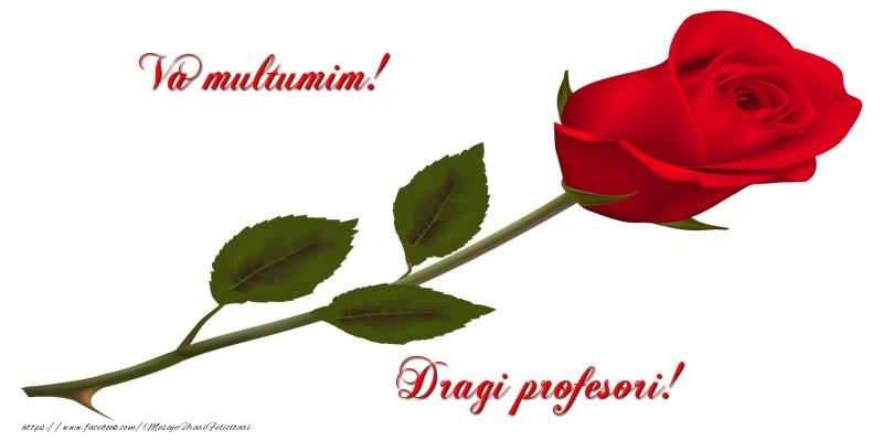 Cele mai apreciate felicitari de Ziua Profesorului cu trandafiri - Va multumim! Dragi profesori!
