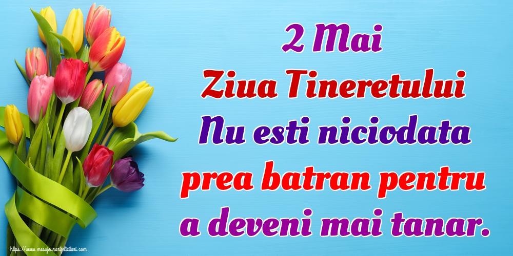 Felicitari de Ziua Tineretului - 2 Mai Ziua Tineretului Nu esti niciodata prea batran pentru a deveni mai tanar.