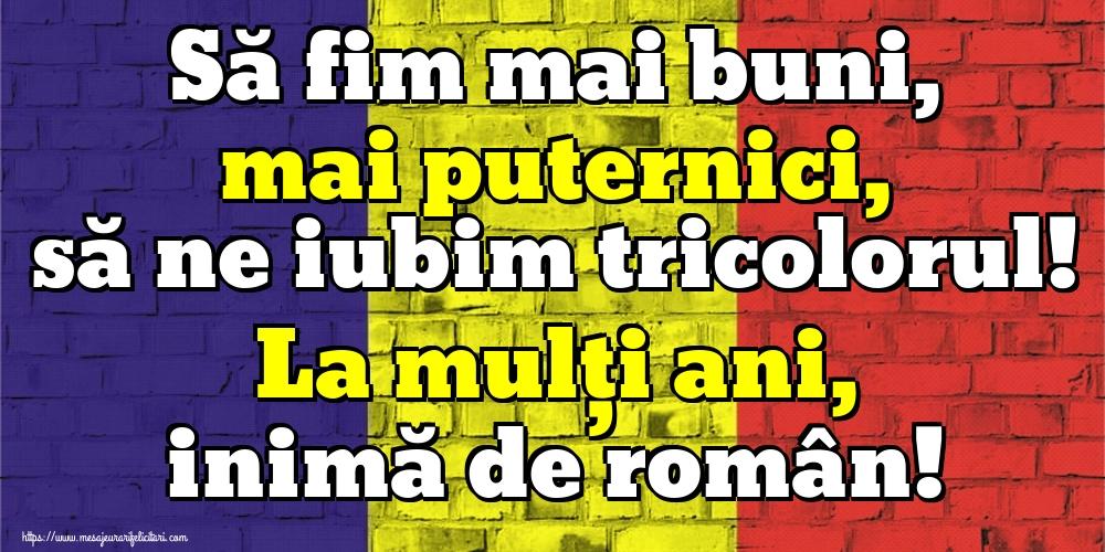 Felicitari de Ziua Tricolorului - Să fim mai buni, mai puternici, să ne iubim tricolorul! La mulți ani, inimă de român!