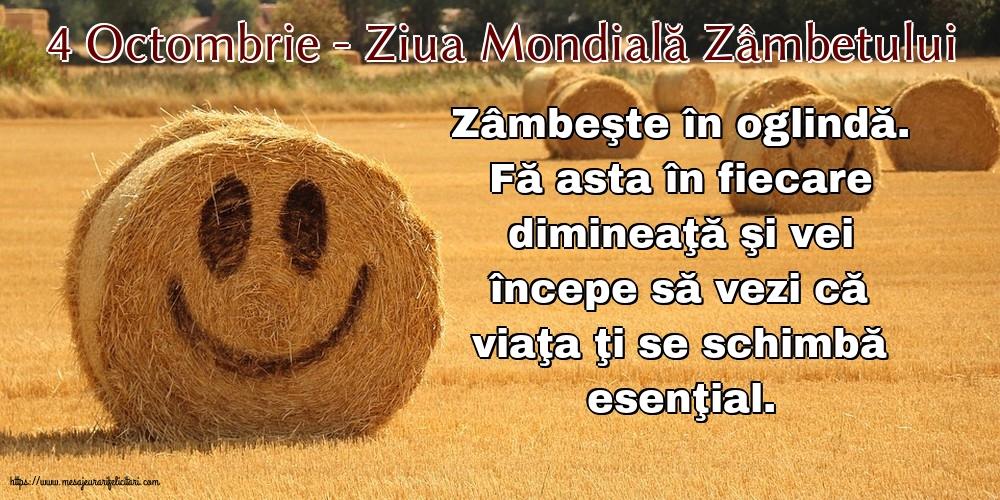 Felicitari de Ziua Zâmbetului - 4 Octombrie - Ziua Mondială Zâmbetului - mesajeurarifelicitari.com
