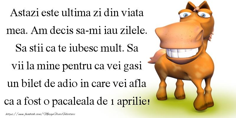 Mesaje de 1 Aprilie - Vei afla ca a fost o pacaleala de 1 aprilie - mesajeurarifelicitari.com