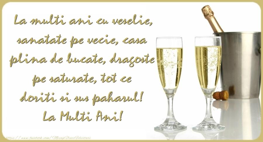 Mesaje de Anul Nou - La multi ani cu veselie, sanatate pe vecie, casa plina de bucate, dragoste pe saturate - mesajeurarifelicitari.com