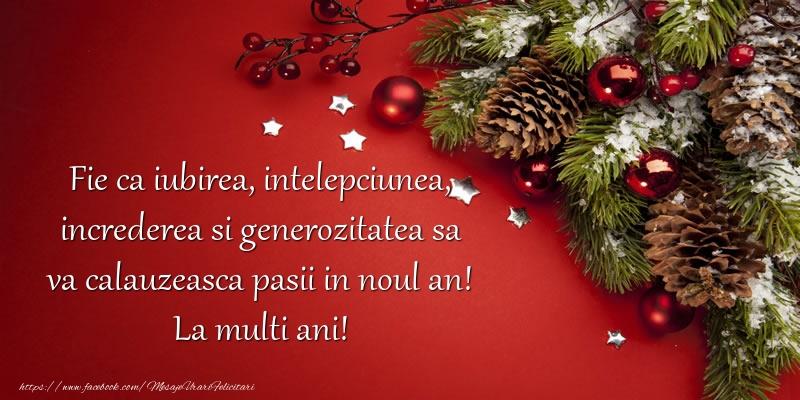 Fie ca iubirea, intelepciunea, increderea si generozitatea sa va calauzeasca pasii in noul an!