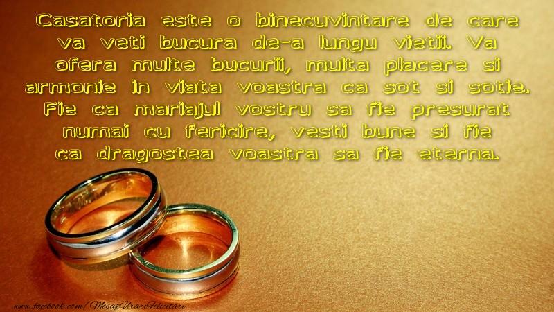 Mesaje de Casatorie - Vesti bune si fie ca dragostea voastra sa fie eterna. - mesajeurarifelicitari.com