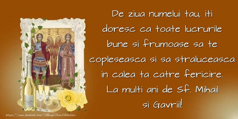 De ziua numelui tau, iti doresc ca toate lucrurile bune La multi ani de Sf. Mihail si Gavriil!