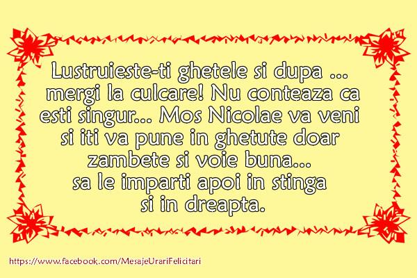 Mesaje de Mos Nicolae - In ghetute zambete si voie buna - mesajeurarifelicitari.com