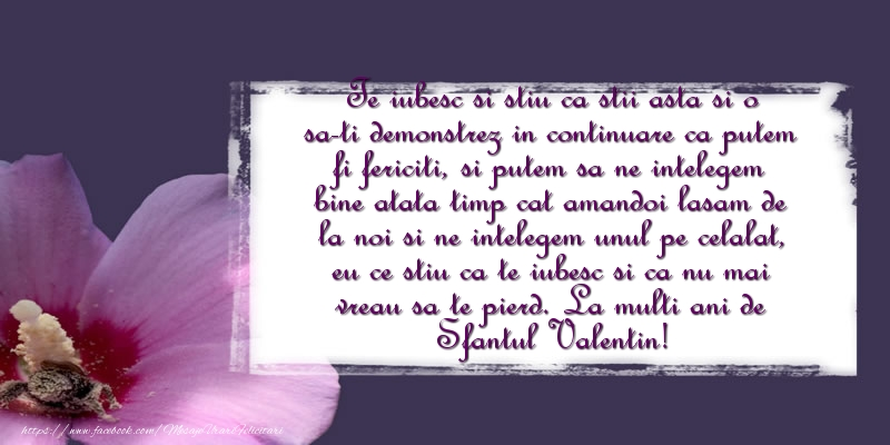 Mesaje de Sfantul Valentin - Te iubesc si stiu ca stii asta si o sa-ti demonstrez - mesajeurarifelicitari.com