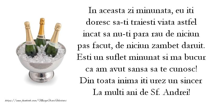 Din toata inima iti urez un sincer La multi ani de Sf. Andrei!
