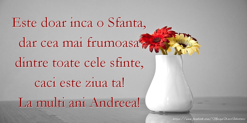 Este doar inca o Sfanta, dar cea mai frumoasa dintre toate cele sfinte, caci este ziua ta! La multi ani Andreea!