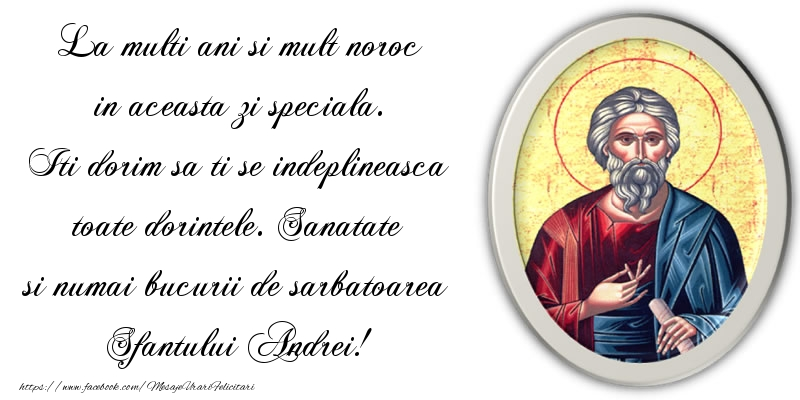 Mesaje de Sfantul Andrei - Sanatate si numai bucurii de sarbatoarea Sfantului Andrei! - mesajeurarifelicitari.com