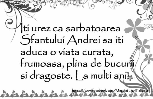 Mesaje de Sfantul Andrei - Iti urez ca sarbatoarea Sfantului Andrei - mesajeurarifelicitari.com
