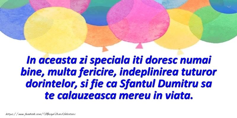 Mesaje de Sfantul Dumitru - In aceasta zi speciala iti doresc numai bine, multa fericire - mesajeurarifelicitari.com