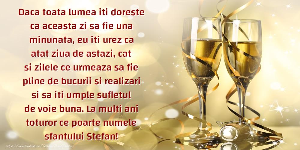 Mesaje de Sfantul Stefan - La multi ani toturor ce poarte numele sfantului Stefan! - mesajeurarifelicitari.com