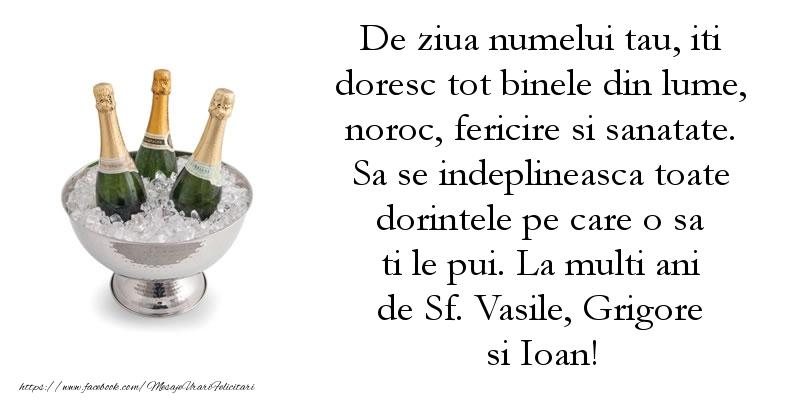 La multi ani de Sf. Vasile, Grigore si Ioan!