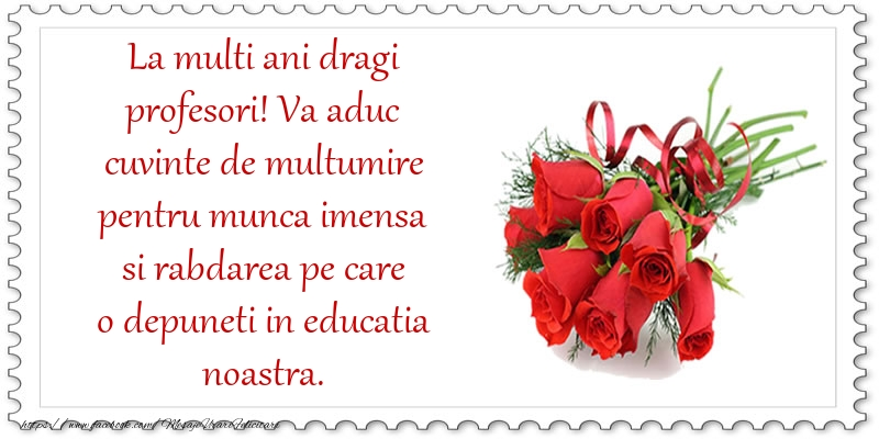 Mesaje de Ziua Profesorului - La multi ani dragi profesori! - mesajeurarifelicitari.com