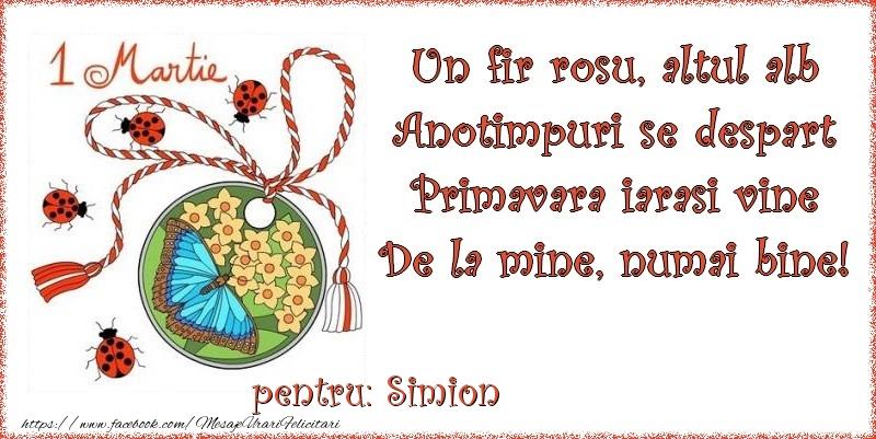 Felicitari de 1 Martie - Un fir rosu, altul alb ... Pentru Simion!