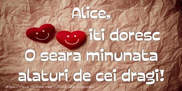 Felicitari de buna seara - Alice iti doresc o seara minunata alaturi de cei dragi!