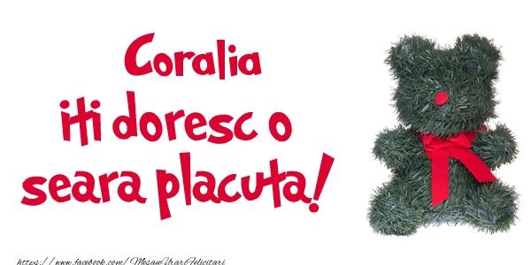 Felicitari de buna seara - Coralia iti doresc  o seara placuta!