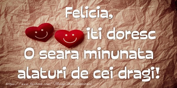 Felicitari de buna seara - Felicia iti doresc o seara minunata alaturi de cei dragi!