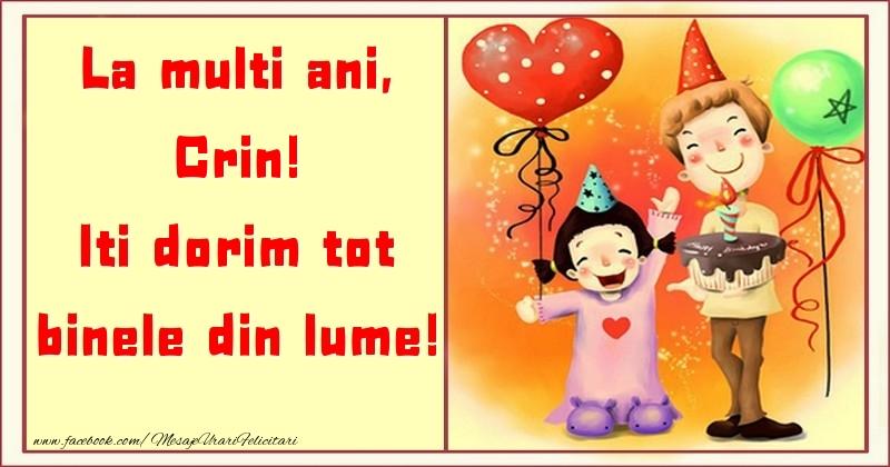 Felicitari pentru copii - La multi ani, Iti dorim tot binele din lume! Crin