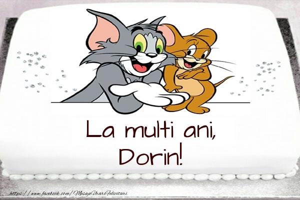Felicitari pentru copii - Tort cu Tom si Jerry: La multi ani, Dorin!