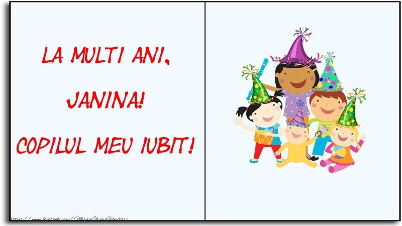 Felicitari pentru copii - La multi ani, copilul meu iubit! Janina